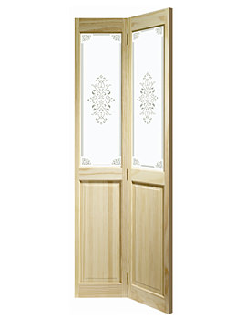 Image of XL Internal Victorian Bi-Fold With Campion Glass Clear Pine Door