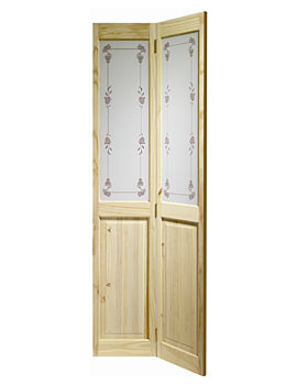 Related XL Internal Victorian With Bluebell Glass Bi-Fold Knotty Pine Door