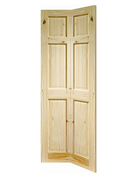 Related XL Internal Colonial 6 Panel Bi-Fold Knotty Pine Door - KPBF6P27