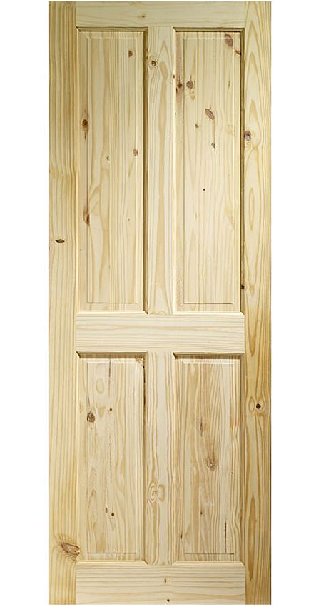 Large Image of XL Internal Victorian 4 Panel Knotty Pine Door - KPIN4P21M