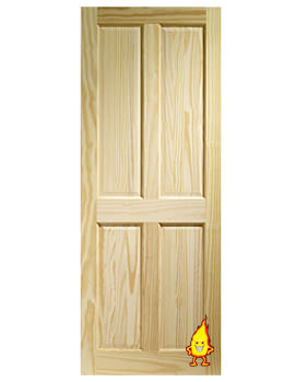 Image of XL Internal Victorian 4 Panel Clear Pine Fire Door - CPIN4P27-FD