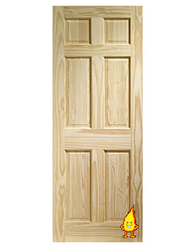 Related XL Internal Colonial 6 Panel Clear Pine Fire Door - CPIN6P27-FD