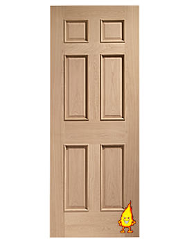Related XL Oak Colonial 6 Panel Fire Door With Raised Mouldings - INTOCOL24RM-FD