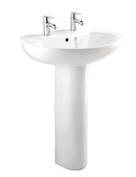 Quest 1 Tap hole Cloakroom Basin With Full Pedestal