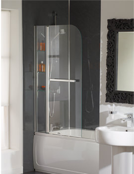 Cascade Bath Screen With Rail And Glass Shelves - EB304