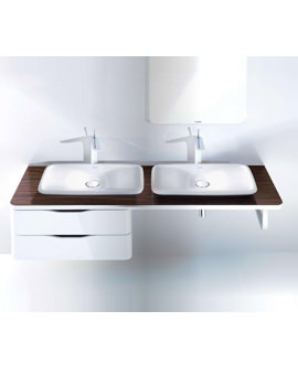 Image of Duravit Puravida 1600mm Back-To-Wall White Console With 2 Cut-Outs