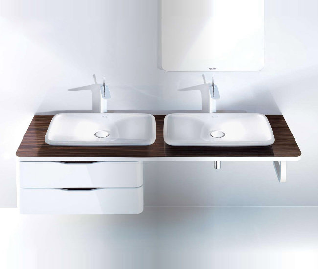 Large Image of Duravit Puravida 1600mm Back-To-Wall White Console With 2 Cut-Outs