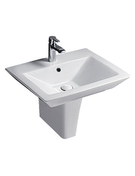 RAK Opulence His Basin With Half Pedestal And Click Clack Waste 580mm