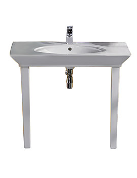 RAK Opulence Hers Basin With Click Clack Waste And Legs 1000mm White