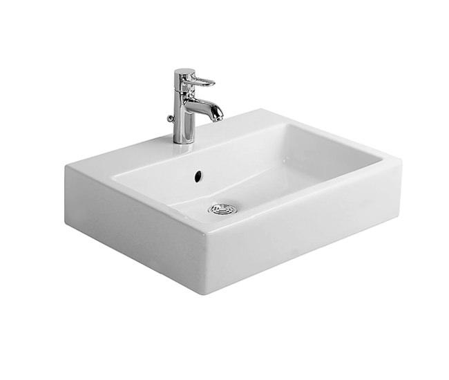 duravit vero white 600mm 1 tap hole grinded washbasin 0454600027. Black Bedroom Furniture Sets. Home Design Ideas