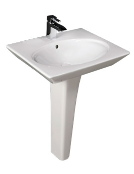 RAK Opulence Hers Basin With Full Pedestal And Click Clack Waste 580mm