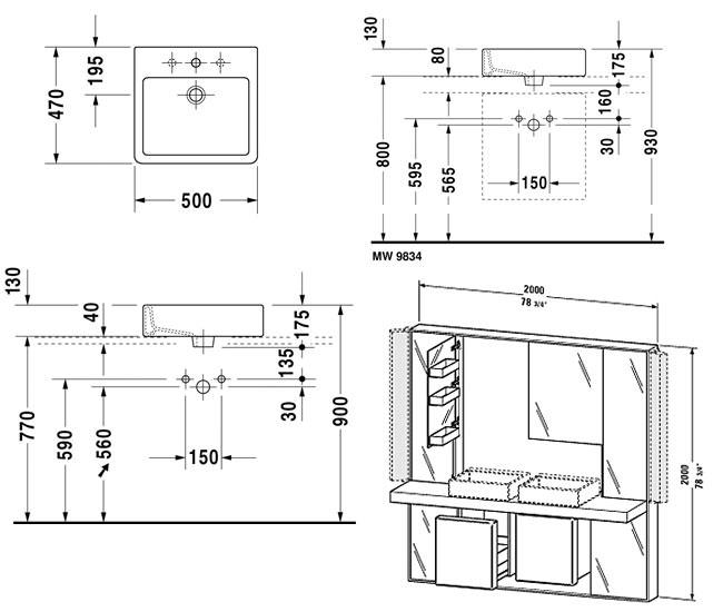 duravit mirrorwall unit 2000mm with vero basin 500mm. Black Bedroom Furniture Sets. Home Design Ideas