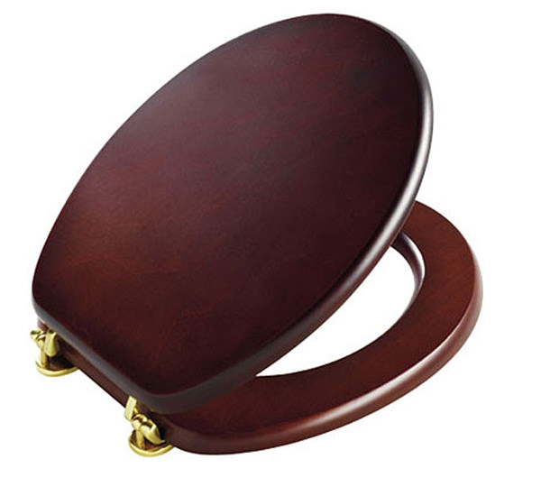 Tavistock Premier Toilet Seat With Gold Hinges Mahogany