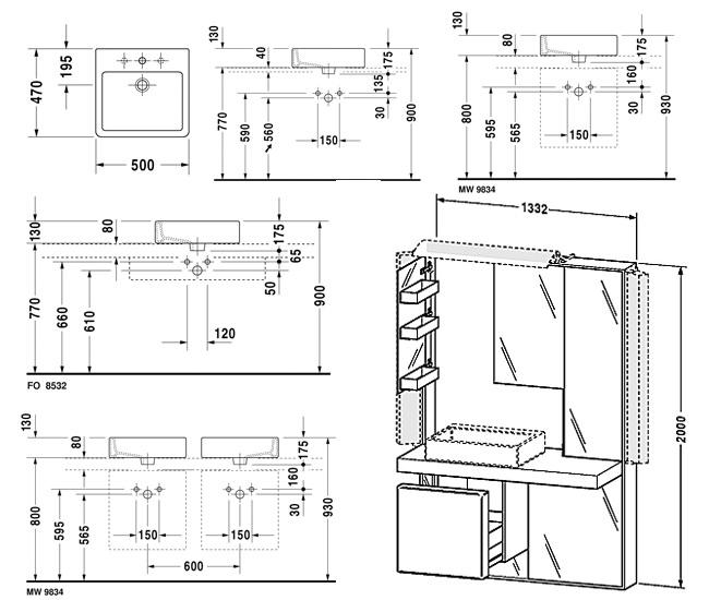 duravit mirrorwall unit 1332mm with vero basin 500mm. Black Bedroom Furniture Sets. Home Design Ideas