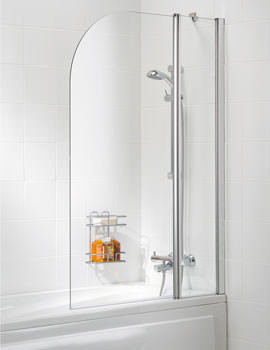 Classic 975mm Double Panel Curved Bath Screen Silver
