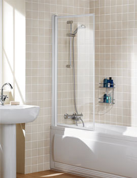 Classic Single Panel White Framed Bath Screen 760mm