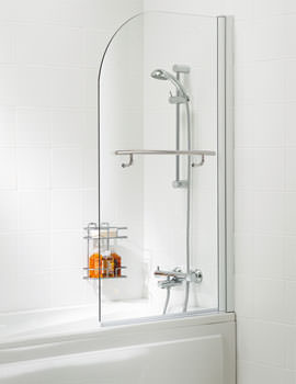 Classic 800mm Curved Bath Screen With Towel Rail Silver