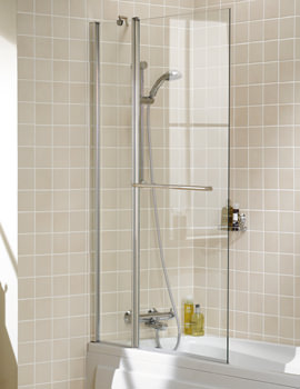 Classic Square Double Panel Bath Screen With Towel Rail 944mm