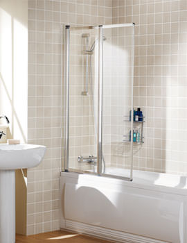 Classic Double Panel Silver Framed Bath Screen 950mm  - SS75 05