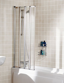 Classic Four Panel Framed Bath Screen 730mm Silver - SS85S