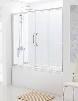 Classic Over Bath Semi Frame-less Double Slider Door 1500mm