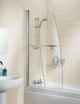 Classic 860mm Silver Sculpted Bath Screen With Towel Rail