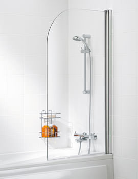 Classic Curved Bath Screen 800 x 1400mm Silver - SS10 05