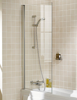 Classic Square Bath Screen 800 x 1500mm Silver