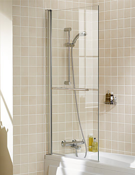 Classic Square Bath Screen With Towel Rail 800x1500mm