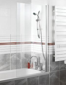 Manhattan Square Top Single Panel Bathscreen 900 x 1500mm - M3CLFTNSCC