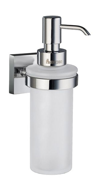 Large Image of Smedbo House Frosted Glass Soap Dispenser With Holder - RK369