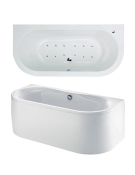 Dee Bow Fronted Double Ended Airpool Bath 1700x800mm System 2