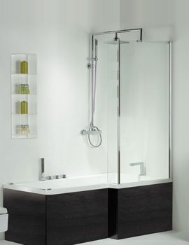 Image of Pensato Left Hand Whirlpool Shower Bath With Negro Panel 1700mm System 1