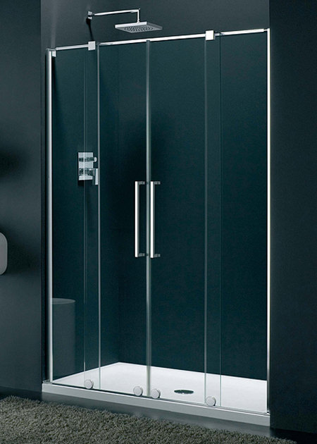 Lakes italia genzano frame less double sliding shower door Sliding glass shower doors