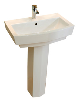 RAK Credenza 1 Tap Hole Basin With Full Pedestal 600mm - CRE60BAS1