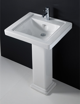 Empire 1 Tap Hole Basin With Full Pedestal 600mm - EMP60BAS1