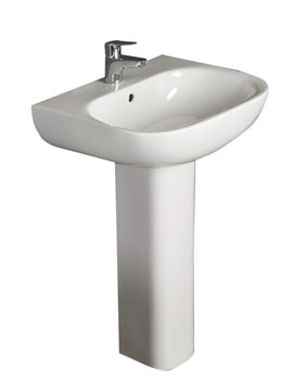 Tonique 1 Tap Hole Basin With Full Pedestal 550mm - TON55BAS1