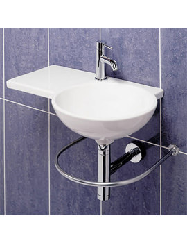 Image of RAK Gina 1 Tap Hole Wall Hung Basin 675mm Left Hand - GINALH