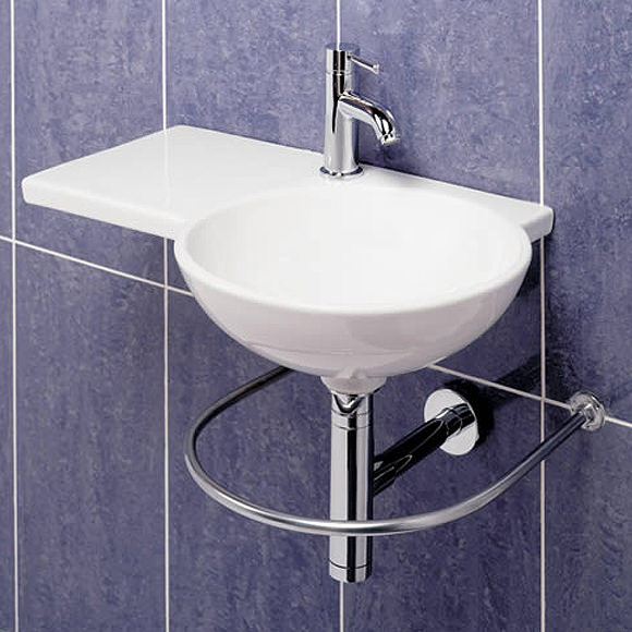Large Image of RAK Gina 1 Tap Hole Wall Hung Basin 675mm Left Hand - GINALH
