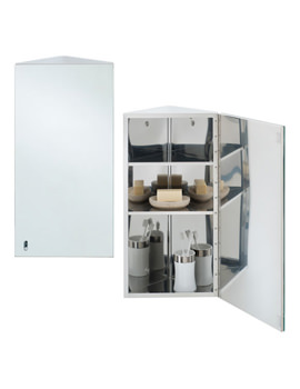 Riva Stainless Steel 190 x 660mm Corner Single Door Mirror Cabinet