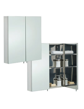 RAK Delta Stainless Steel 600 x 670mm Double Door Mirror Cabinet