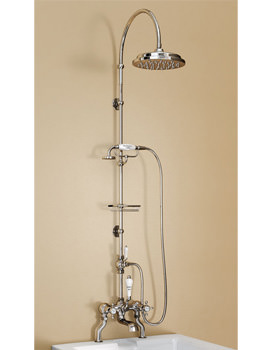 Bath Shower Mixer With Rigid Riser-Curved Arm And 9 Inch Rose