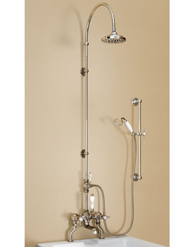 Bath Shower Mixer With Rigid Riser-Curved Arm And 6 Inch Rose