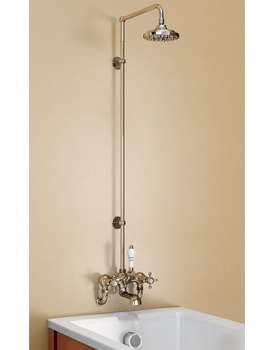 Burlington Wall Mounted Bath Shower Mixer With Straight Arm And 6In Rose