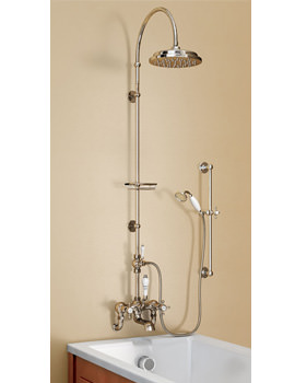 Wall Mounted Bath Shower Mixer With Rigid Riser And Curved Arm
