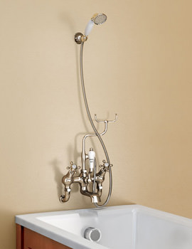 Burlington Wall Mounted Angled Bath Shower Mixer With Shower Hook