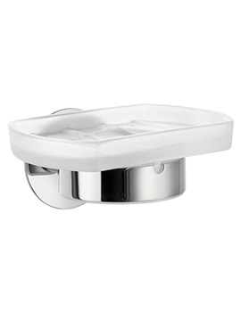 Time Frosted Glass Soap Dish With Holder