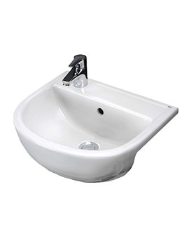 Compact 1 Tap Hole Slimline Semi Recessed Basin 400mm Left Hand