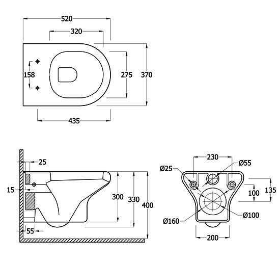 rak compact new wall hung wc pan with soft