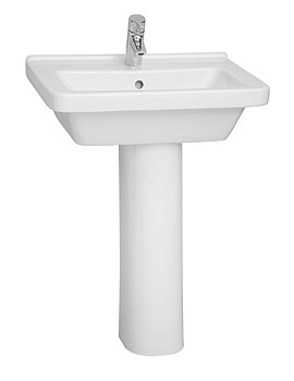 S50 Square Washbasin 60cm With Full Pedestal - 5310L003-0999